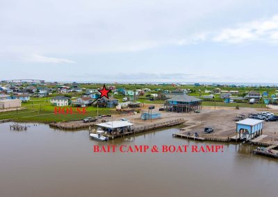 Caney Creek Inlet - Aerial showing Baitcamp